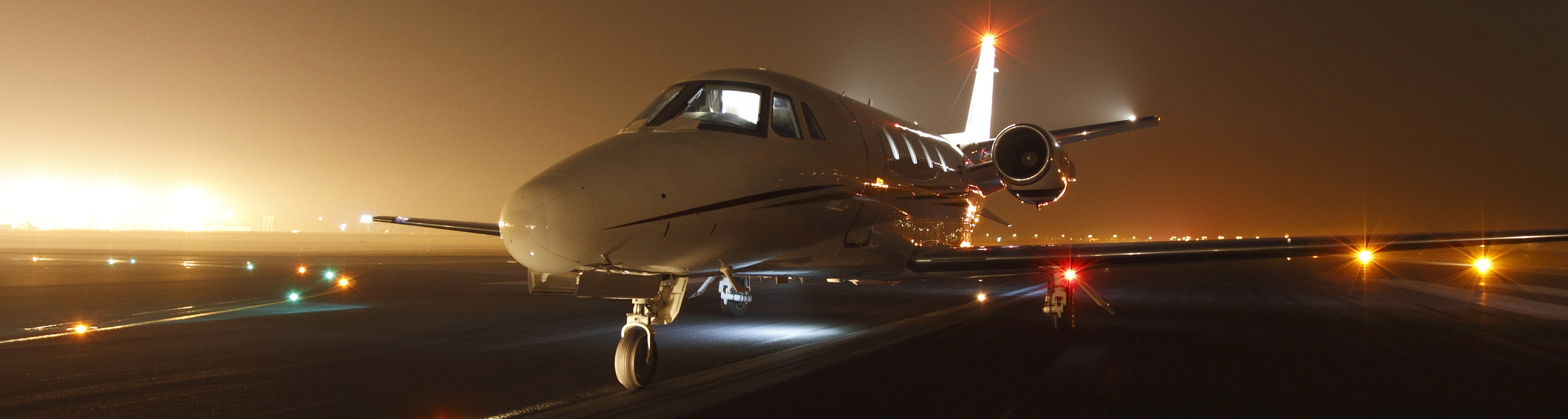 Business jet ready for take off